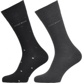 2 Pack Cotton Logo Socks, Black/Charcoal