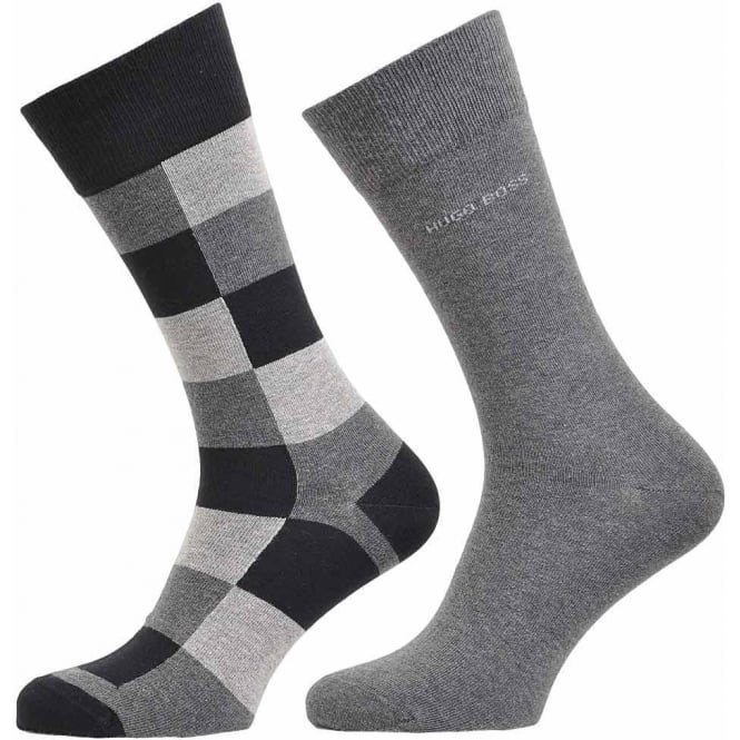 BOSS 2 Pack Cotton Logo Socks, Black/Grey