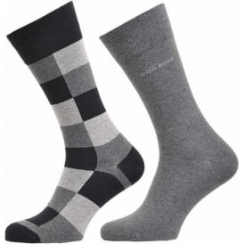 2 Pack Cotton Logo Socks, Black/Grey