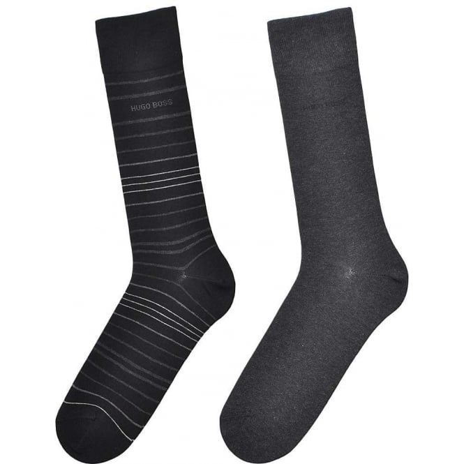 BOSS 2 Pack Cotton Logo Socks, Black/Grey Stripe