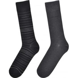 2 Pack Cotton Logo Socks, Black/Grey Stripe