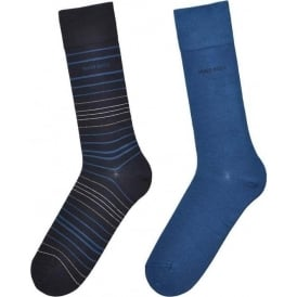 2 Pack Cotton Logo Socks, Blue/Navy Stripe