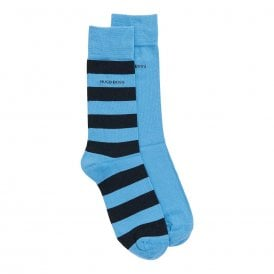 2 Pack Cotton Logo Socks, Blue / Stripe
