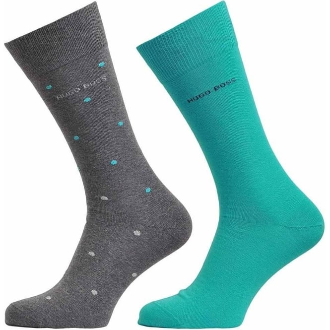 BOSS 2 Pack Cotton Logo Socks, Grey/Turquoise