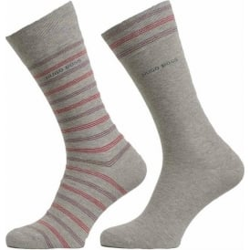 2 Pack Cotton Logo Socks, Light Grey/Stripe