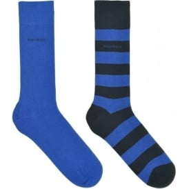 2 Pack Cotton Logo Socks, Navy/Stripe