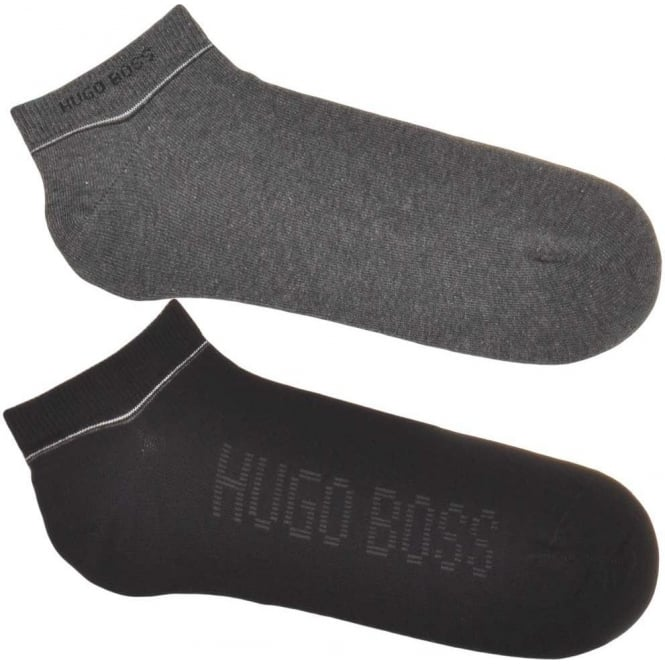BOSS 2 Pack Sneaker Cotton Logo Socks, Black / Grey