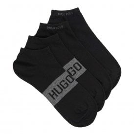 2 Pack Sneaker Cotton Logo Socks, Black