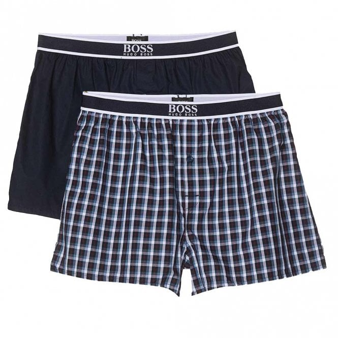 BOSS 2-Pack Woven Boxer, Navy / Check Print