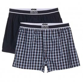 2-Pack Woven Boxer, Navy / Check Print