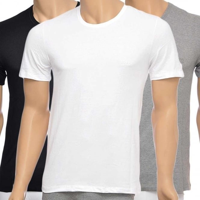 Hugo Boss 3-Pack Cotton Classic Crew Neck T-Shirt Black Grey White 7d83393b6