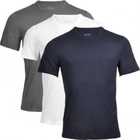 3-Pack Cotton Classic Crew Neck T-Shirt, Grey/Navy/White
