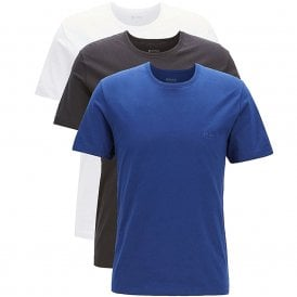 3-Pack Cotton Classic Crew Neck T-Shirt, White / Blue / Black