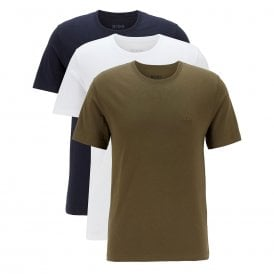 3-Pack Cotton Classic Crew Neck T-Shirt, White / Navy / Khaki Green