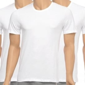 3-Pack Cotton Classic Crew Neck T-Shirt, White