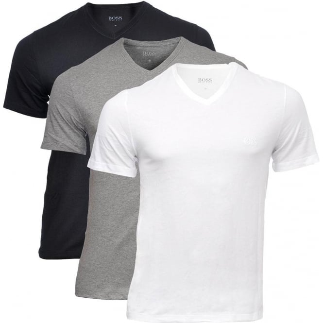 73e18d2ed1d BOSS 3-Pack Cotton Classic V-Neck T-Shirt, Black/Grey/White, Small