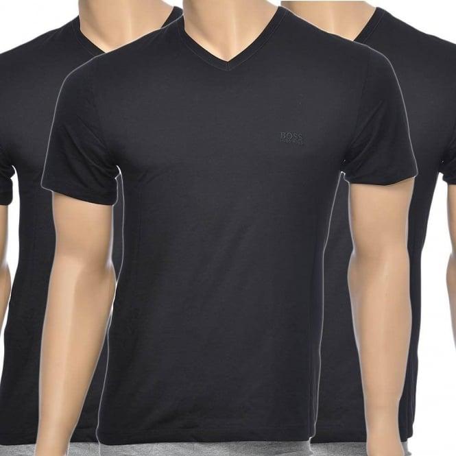 b86f9662c BOSS 3-Pack Cotton Classic V-Neck T-Shirt, Black, Small