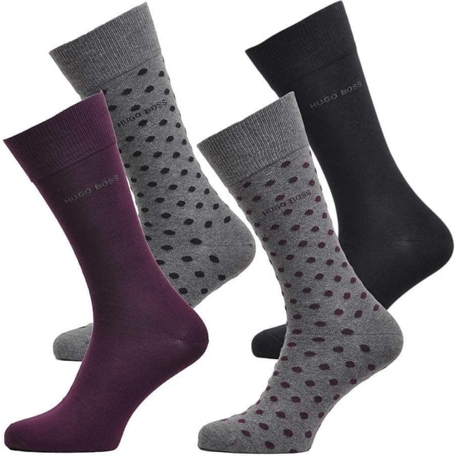 BOSS 4 Pack Cotton Logo Socks, Black/Purple/Dots