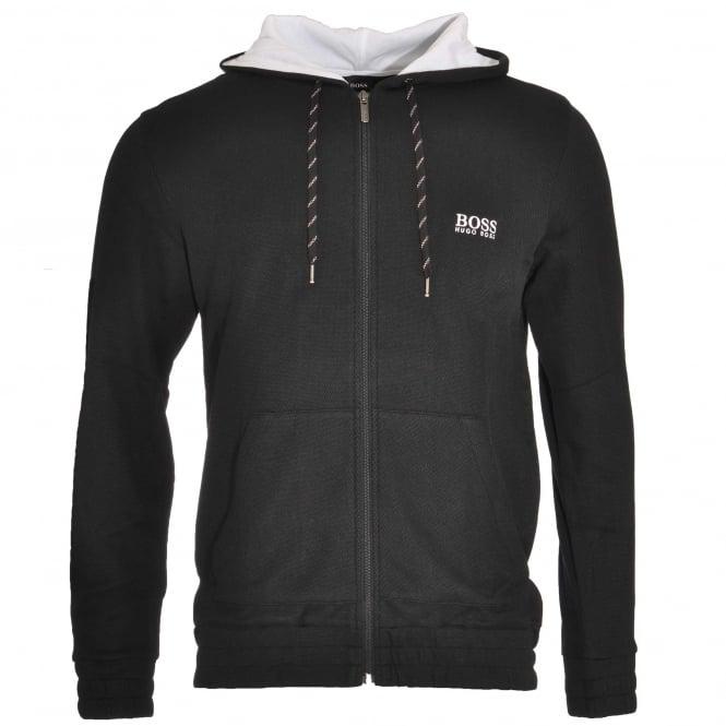 BOSS Cotton Blend Pique Zip-through Hooded Jacket, Black
