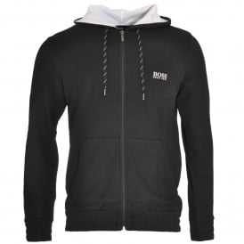 Cotton Blend Pique Zip-through Hooded Jacket, Black