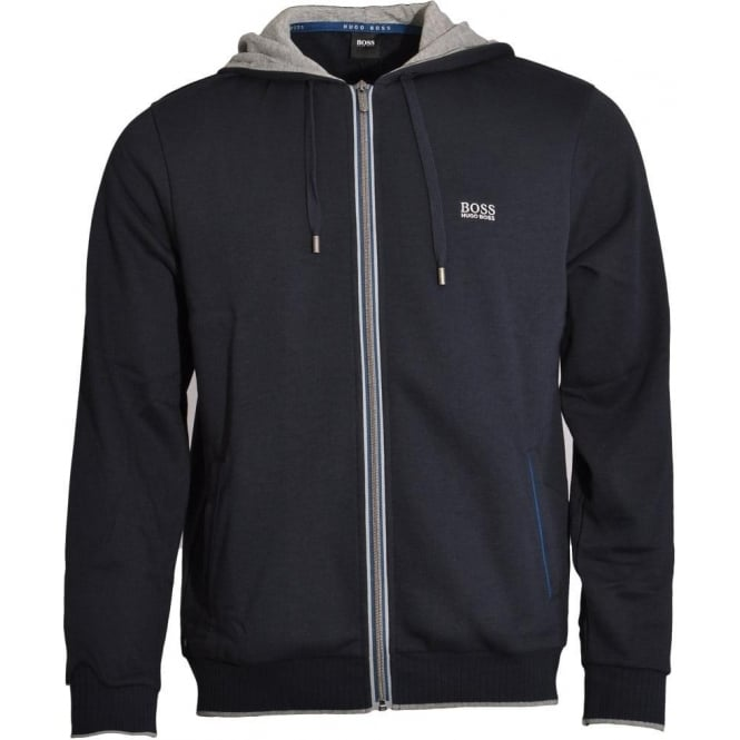 BOSS Cotton Blend Zip-through Hooded Jacket, Dark Blue