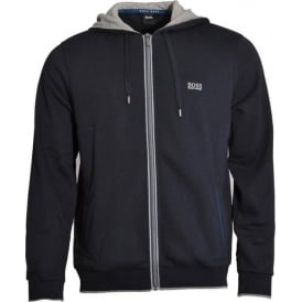 Cotton Blend Zip-through Hooded Jacket, Dark Blue