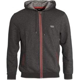 Cotton Blend Zip-through Hooded Jacket, Grey