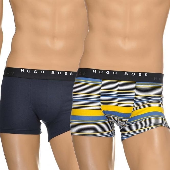 BOSS Cotton Stretch 2-Pack Boxer Trunk, Navy/Stripe