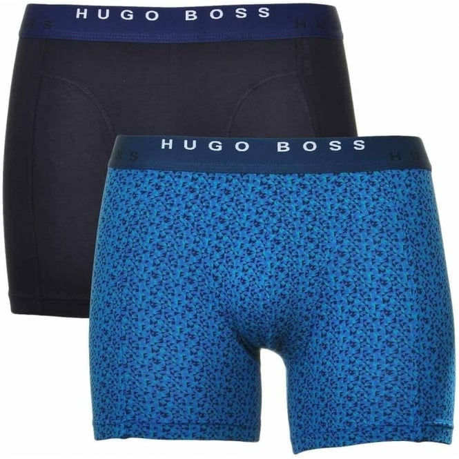 BOSS Cotton Stretch 2-Pack Cyclist Boxer Brief, Black / Blue Triangle Print