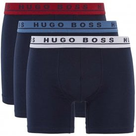 Cotton Stretch 3-Pack Boxer Brief, Navy with White / Red / Blue