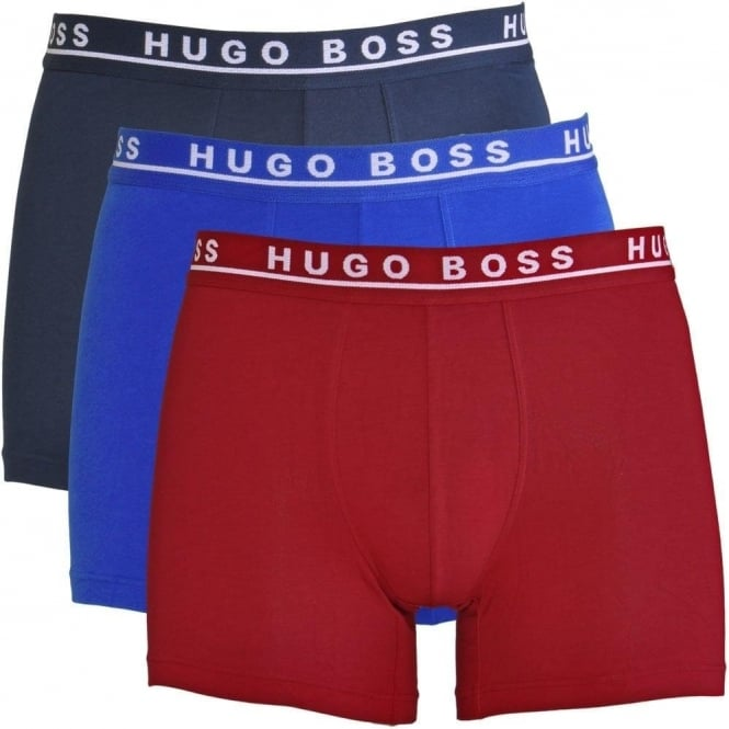 BOSS Cotton Stretch 3-Pack Boxer Brief, Red / Blue / Navy