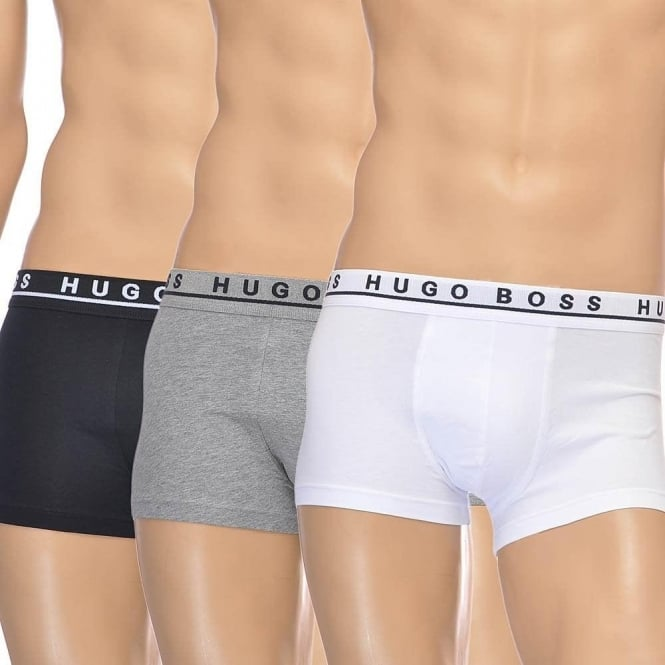 BOSS Cotton Stretch 3-Pack Boxer Trunk, Black/Grey/White