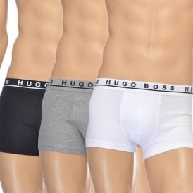 Cotton Stretch 3-Pack Boxer Trunk, Black/Grey/White