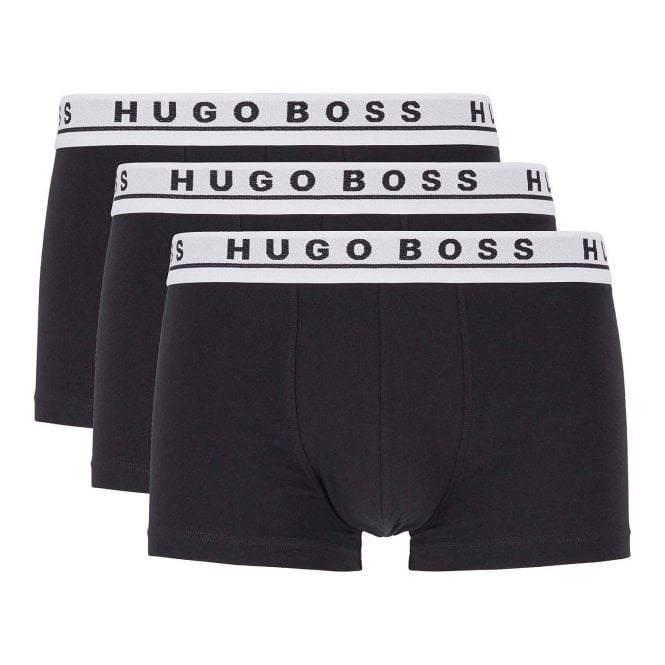 BOSS Cotton Stretch 3-Pack Boxer Trunk, Black