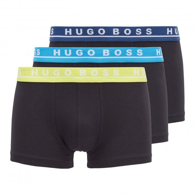 BOSS Cotton Stretch 3-Pack Boxer Trunk, Black with Navy / Blue / Yellow