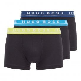 Cotton Stretch 3-Pack Boxer Trunk, Black with Navy / Blue / Yellow