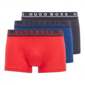 Cotton Stretch 3-Pack Boxer Trunk, Red / Black / Blue