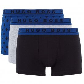 Cotton Stretch 3-Pack Trunk, Grey / Black / Blue Print