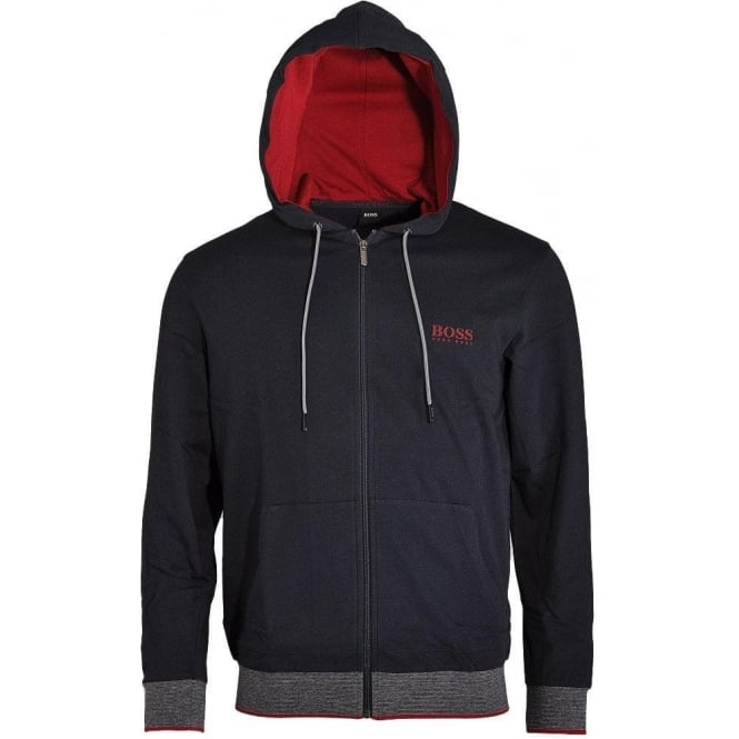 BOSS Cotton Zip-through Hooded Jacket, Dark Blue