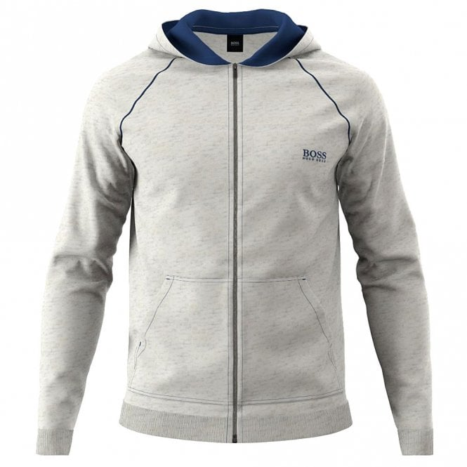 BOSS Cotton Zip-through Hoodie, Grey