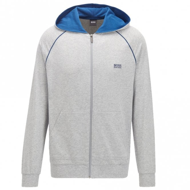 BOSS Cotton Zip-through Hoodie, Grey