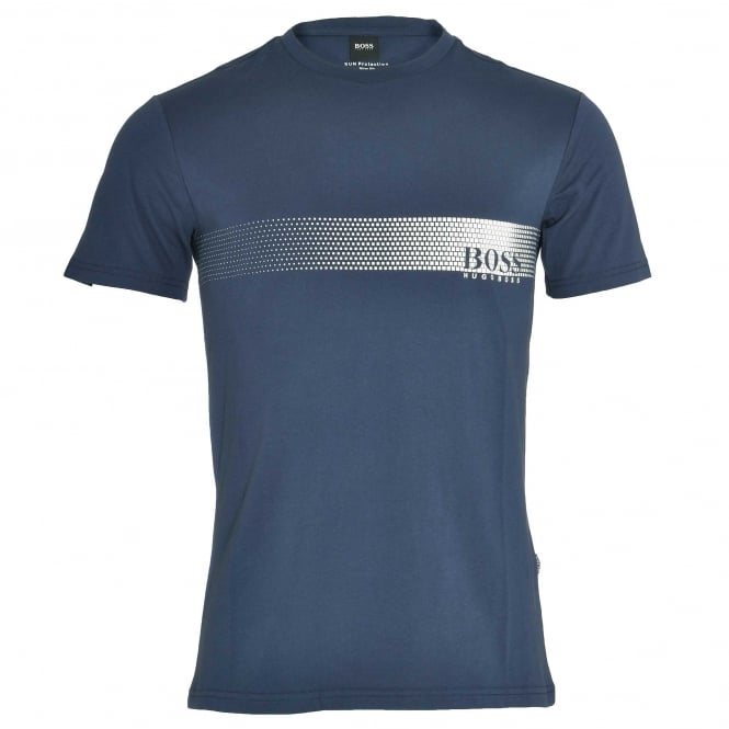 BOSS Degrade Logo Cotton Crew Neck T-Shirt with UV Protection, Navy