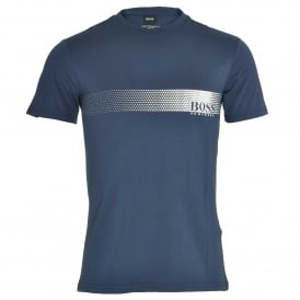 Degrade Logo Cotton Crew Neck T-Shirt with UV Protection, Navy