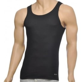 Excite Premium Cotton Rib Tank Top, Black