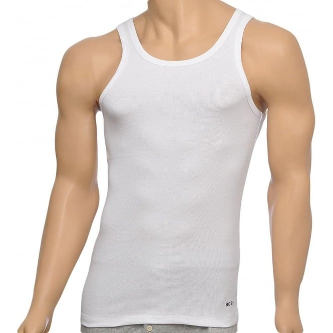 BOSS Excite Premium Cotton Rib Tank Top, white