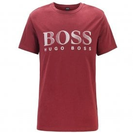 Logo Cotton Crew Neck T-Shirt with UV Protection, Dark Red