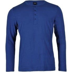 Long Sleeve Cotton Modal Button Crew Neck T-Shirt, Blue
