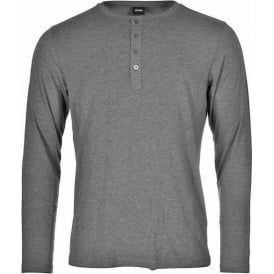 Long Sleeve Cotton Modal Button Crew Neck T-Shirt, Charcoal Grey