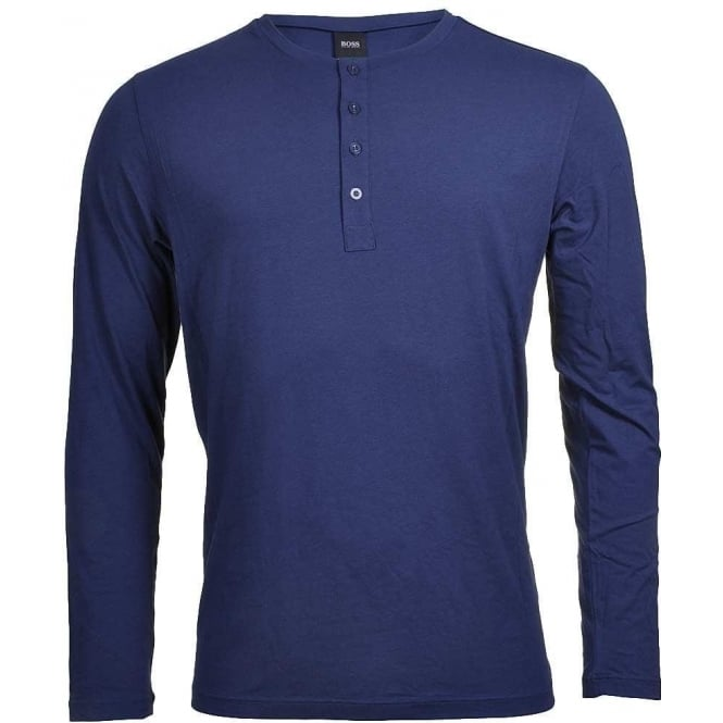 BOSS Long Sleeve Cotton Modal Button Crew Neck T-Shirt, Navy