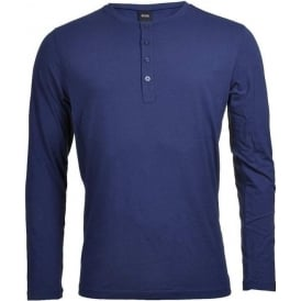 Long Sleeve Cotton Modal Button Crew Neck T-Shirt, Navy